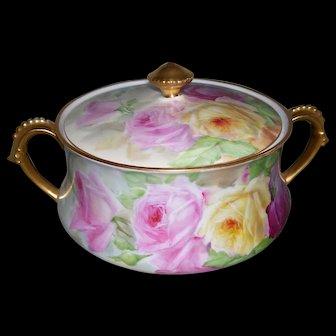 """Tressemann & Vogt Limoges Biscuit Jar With Impressive Gilding; Stunning Roses; Artist Signed """"B. ARC."""""""