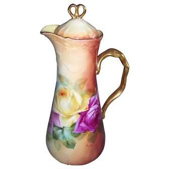 "Lovely Limoges Chocolate Pot; Large Hand Painted Roses; Gilded Handle, Finial & Rim; Artist Signed ""B. ARC."""