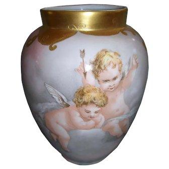 Charming, Delightful Vienna Austria Mischievous Cherubs in the Clouds Vase; Elaborate Gold Border; Circa 1908; Artist Initialed