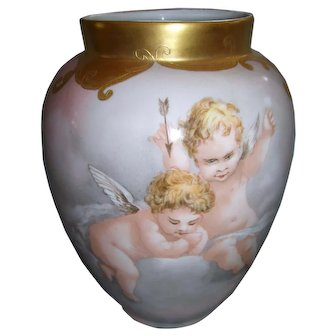 Charming, Delightful Vienna Austria Mischievous Cherubs in the Clouds Vase; Elaborate Gold Border; Circa 1908; Artist Initialed