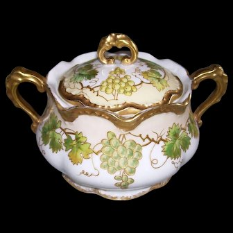 Rare and Unusual Limoges France Biscuit Jar Decorated With Green Grapes and Leaves Outlined in Raised Gold Paste on Raised Gold Paste Tendrils and Branches; Gilded Handles, Finial, Top and Bottom Scalloped Rims