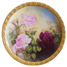 Gorgeous Limoges Charger; Red and Pink Roses; Wide Band of Gold; Tressemann & Vogt