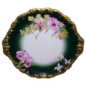 Rare and Unusual Large Limoges Handled Tray/ Charger Decorated in the Desirable Sabots de Venus Pattern