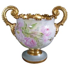 Gorgeous, Ornate American Willets Belleek Jardiniere/Vase/Urn Decorated with Hand Painted Pastel Pink Roses on Stem & Leaf