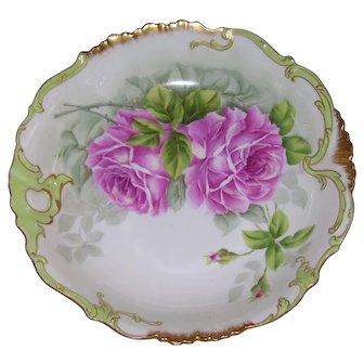 "Large Limoges, Ornate Bowl; Hand Painted Pink Roses; Artist Signed""Lajudie"""