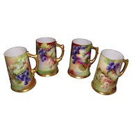 Gorgeous Set of 4 Willets Belleek Mugs; Multi Colored Grapes on Stem and Leaf
