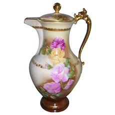 Stately & Elegant Limoges Hand Painted Roses Chocolate Pot; Artist Signed Roby