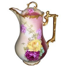 Gorgeous Limoges Hand Painted Roses Chocolate Pot; Artist Signed Rozy