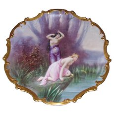 Large Limoges Hand Painted Rococo Charger/ Plaque Depicting Partial Nudes in the Forest; Artist Signed E. Furlaud
