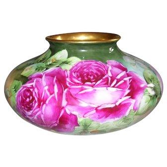 Fabulous Vienna Austria Squat Vase; Hand Painted Roses; Artist Initialed EJM