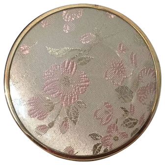 Gold Plated Crystal Vanity Dish with Silk Embroidered Lid