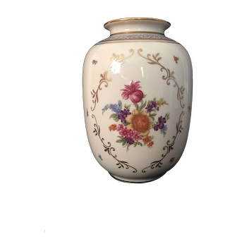 "Antique Porcelain ""Eschenbach"" Bavarian Vase W/Floral Gilded Design 10"" High"
