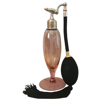 """Devilbis"" Perfumizer with Burgundy Stained Cambridge Crystal Bottle"