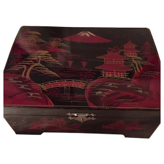 Japanese Mid-Century Black & Red Lacquered Hand Painted Box