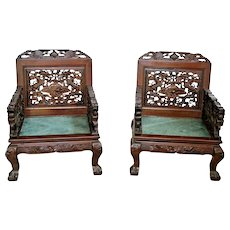 Antique Matching Chairs Dragon carved hardwood green marble Large silk cushions