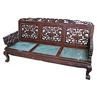 Antique Dragon hand carved Sofa couch hardwood green marble silk cushions