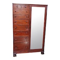 Vintage Gentleman's tall dressing Cabinet Mahogany Wardrobe nine drawers Nationwide shipping available