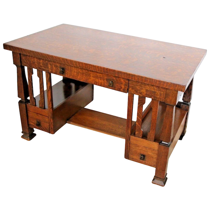 size 40 5d216 8b172 Antique Arts & Crafts Mission Style Desk Writing Table three drawers book  shelves