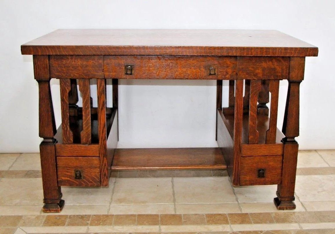 Antique Arts Amp Crafts Mission Style Desk Writing Table