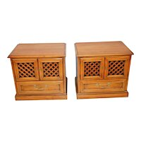Vintage Drexel Esperanto Pair Matching Nightstands Bedside Chest cabinet Walnut finish