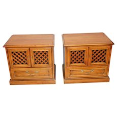 Vintage Drexel Esperanto Pair Matching Nightstands Bedside Chest cabinet Walnut Nationwide Shipping available please call for best rates