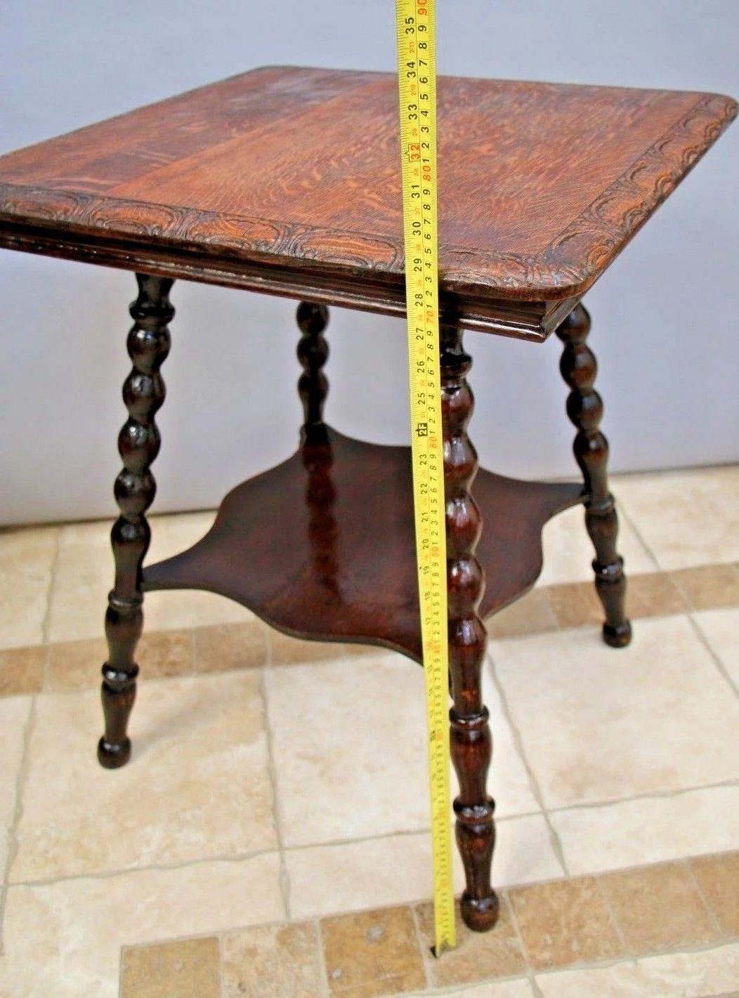 Antique Square Two Tier Parlor Table Stand Tiger Oak Carved Top Side At Melrose Vintage And