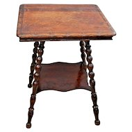 Antique Square two Tier Parlor Table Stand Tiger Oak Carved top side edges
