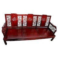 Gorgeous Vintage Good fortune carved Chinese Ming Style Sofa couch and silk cushions