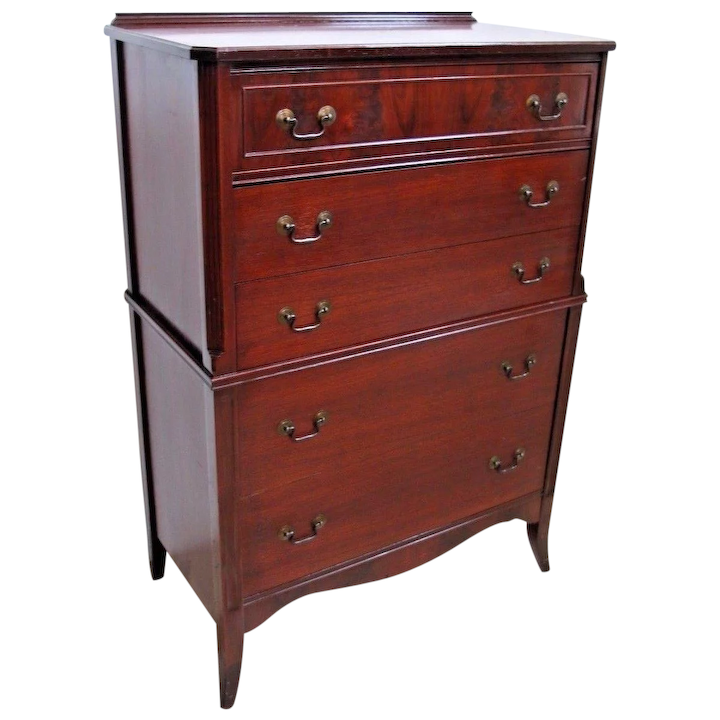 100% authentic 34d4e 816a5 Vintage Tall Chest Karpen Furniture Highboy Dresser Chest Mahogany 5 Drawer