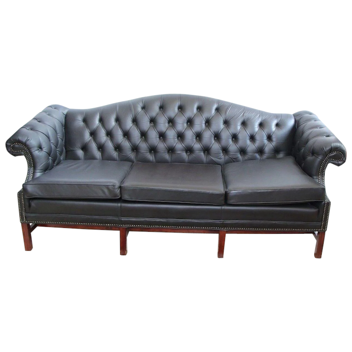 Groovy Kimball Vintage Chippendale Style Camel Back Tufted Leather Chesterfield Sofa Inzonedesignstudio Interior Chair Design Inzonedesignstudiocom