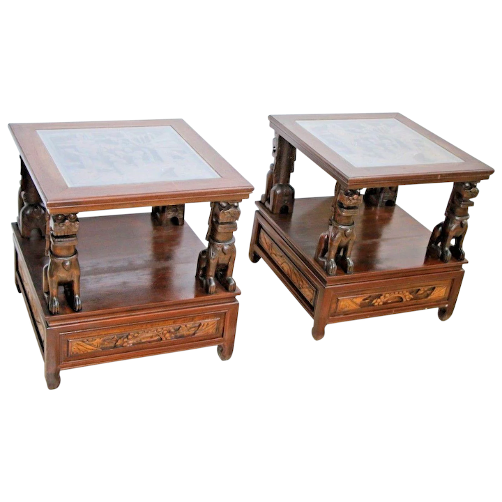 Side Table Chinees.Vintage Set Chinese Side Tables Carved Legs Glass Top Two Tiers Bottom Drawer