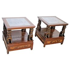Vintage Chinese Foo Dog Leg Glass Top two tier Side Table set with bottom Drawer