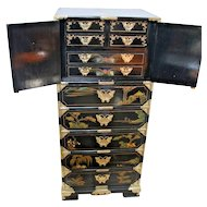 Vintage Large Oriental Asian Painted Lingerie Chest Dresser Lockable top chest