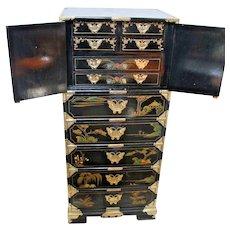 Vintage Large Oriental Asian Painted Lingerie Chest Dresser Lockable top chest
