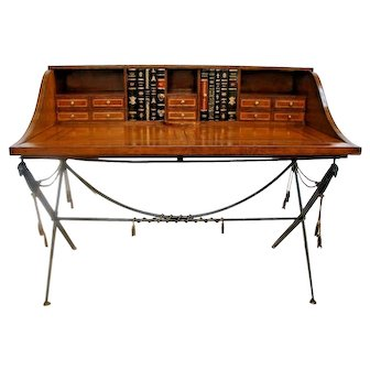 Vintage Carlton Desk Embossed Leather top Military sword style legs and tassels