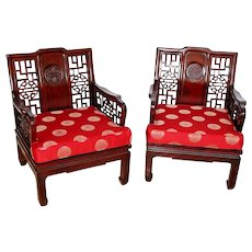 Gorgeous Pair Vintage Good fortune carved Chinese Ming Style Arm Chairs cushions