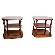 Vintage Retro Drexel Taurine III Matching Set Three Tier side Tables Walnut