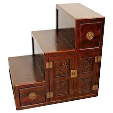 Antique Tansu Chest Storage Carved Wood Japan Syowa Era 2 drawer cabinet 3 steps