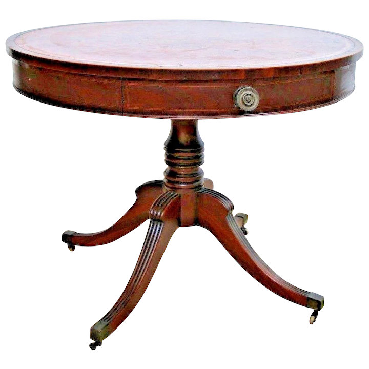 Vintage Large Round Pedestal Drum Table English Mahogany Double Drawer Irwin Furniture