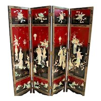 Vintage Large Folding Privacy Screen Room Divider Princess flower theme carving