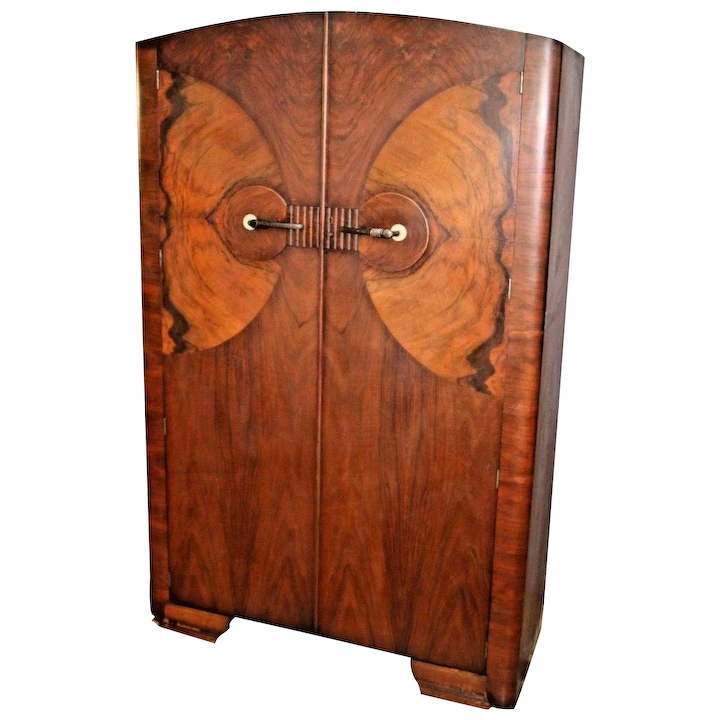 Art Deco Lawrencia Wardrobe Closet Shelf Hangar Double Doors Butterfly At Melrose Vintage And Antique Furniture Ruby Lane
