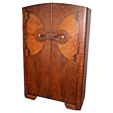 Art Deco Lawrencia Wardrobe Closet Shelf hangar Double doors Butterfly grain