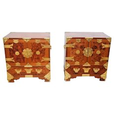 Gorgeous Vintage Set of Nightstands End Tables Asian Burlwood Chest of Drawers