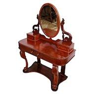 Gorgeous Art Nouveau Antique Vanity Adjustable mirror brass clips Three drawers