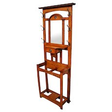 Mission arts and crafts Hall Tree top Mirror umbrella hat stand coat rack drawer