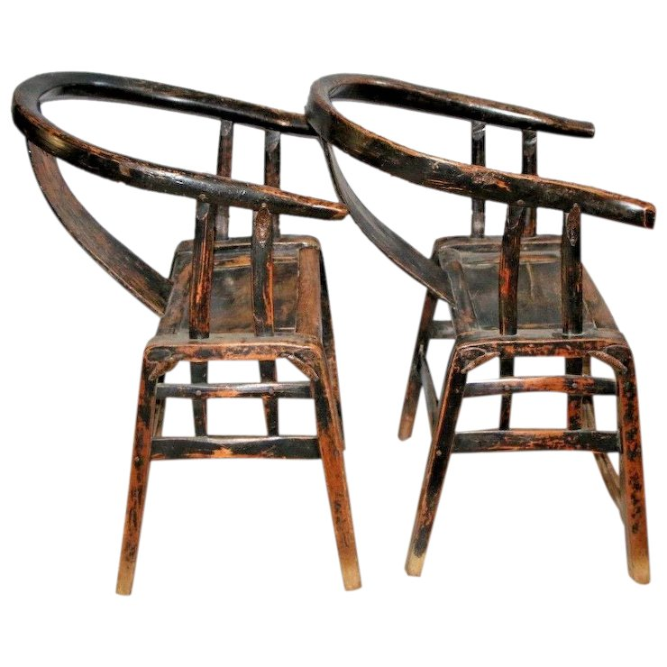 Chinese Antique Yoke Armed Horseshoe Chairs Pair Handmade forged iron : At  Melrose Vintage and Antique Furniture | Ruby Lane - Chinese Antique Yoke Armed Horseshoe Chairs Pair Handmade Forged