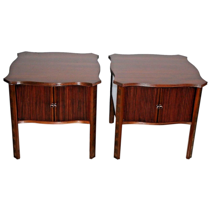 Vintage Pair Of Ethan Allen Nightstands End Tables Cabinets Sliding : At  Melrose Vintage And Antique Furniture | Ruby Lane