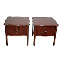 Vintage Pair of Ethan Allen Nightstands End Tables cabinets sliding pocket doors