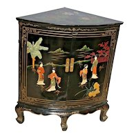 Vintage Black Asian Corner Cabinet Buffet Geisha Flower Theme Two Doors shelf