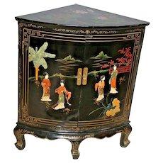 Vintage Black Asian Corner Cabinet Buffet Geisha Flower Theme Two Doors shelf